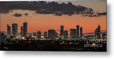 Miami Sunset Skyline Metal Print by Rene Triay Photography