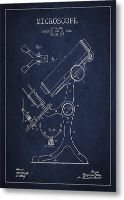 Microscope Patent Drawing From 1886 - Navy Blue Metal Print by Aged Pixel