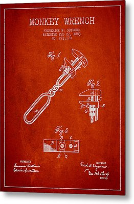 Monkey Wrench Patent Drawing From 1883 Metal Print by Aged Pixel