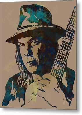 Neil Young Pop Artsketch Portrait Poster Metal Print by Kim Wang