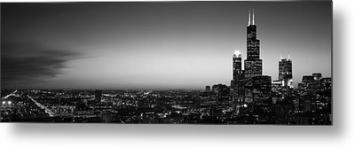 Night Chicago Il Usa Metal Print by Panoramic Images