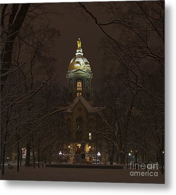 Notre Dame Golden Dome Snow Metal Print by John Stephens