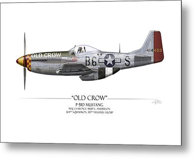 Old Crow P-51 Mustang - White Background Metal Print by Craig Tinder