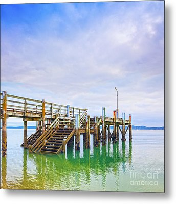 Old Jetty With Steps Maraetai Beach Auckland New Zealand Metal Print by Colin and Linda McKie