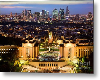Paris Panorama France At Night Metal Print by Michal Bednarek
