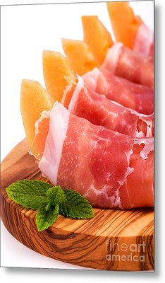 Parma Ham And Melon Metal Print by Jane Rix