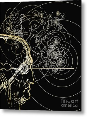 Particle Tracks And Head Metal Print by Mehau Kulyk