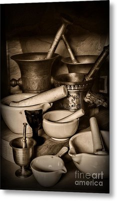 Pharmacy - Mortars And Pestles - Black And White Metal Print by Paul Ward
