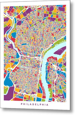 Philadelphia Pennsylvania Street Map Metal Print by Michael Tompsett