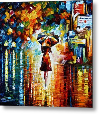 Rain Princess - Palette Knife Landscape Oil Painting On Canvas By Leonid Afremov Metal Print by Leonid Afremov