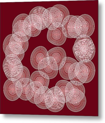 Red Abstract Circles Metal Print by Frank Tschakert