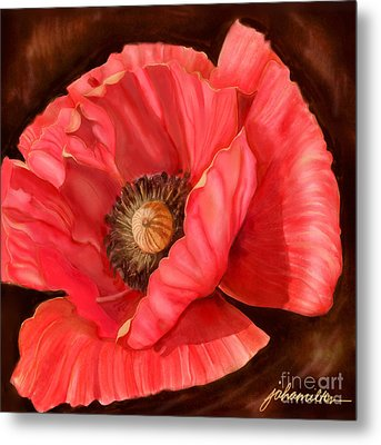 Red Poppy Two Metal Print by Joan A Hamilton