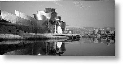 Reflection Of A Museum On Water Metal Print by Panoramic Images