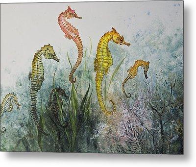 Sea Horses Metal Print by Nancy Gorr