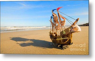 Ship Model On Summer Sunny Beach Metal Print by Michal Bednarek