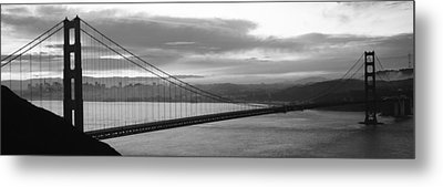 Silhouette Of A Suspension Bridge Metal Print by Panoramic Images