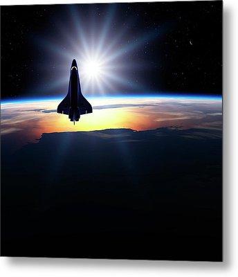 Space Shuttle In Orbit Metal Print by Detlev Van Ravenswaay