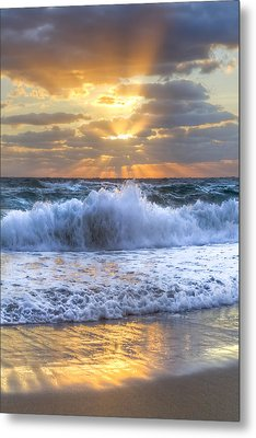 Splash Sunrise Metal Print by Debra and Dave Vanderlaan