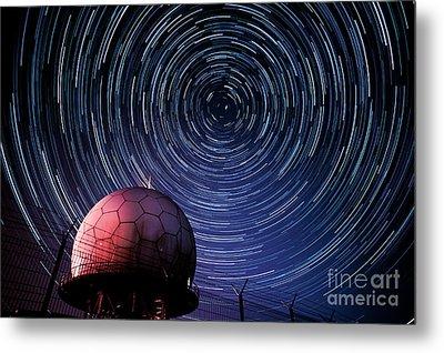 Star Trails And Radar Globe Metal Print by Eszter Kovacs