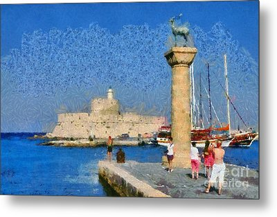 Taking Pictures At The Entrance Of Mandraki Port Metal Print by George Atsametakis