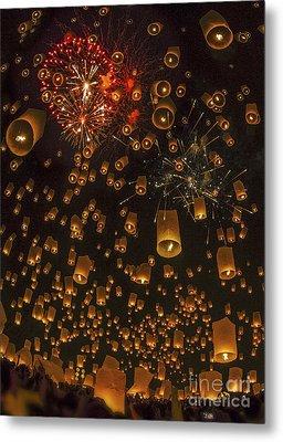 Thai People Floating Lamp Metal Print by Anek Suwannaphoom