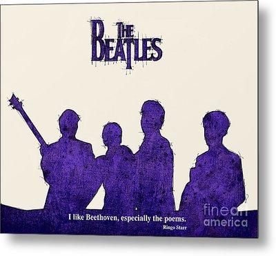 The Beatles Portrait - Ringo Starr Quote Metal Print by Pablo Franchi