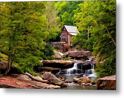 The Grist Mill Painted  Metal Print by Steve Harrington