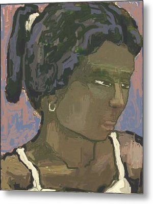 The Woman With The White Barrette Metal Print by Pemaro