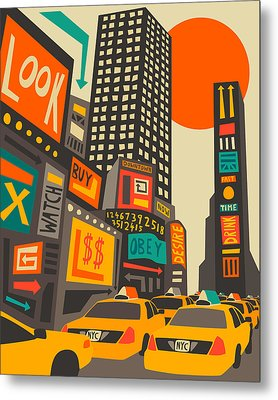 Time Square Metal Print by Jazzberry Blue
