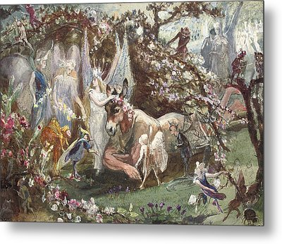 Titania And Bottom Metal Print by John Anster Fitzgerald