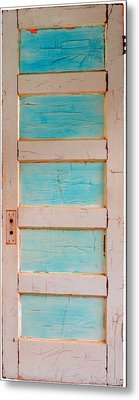 Turquoise Doorway And Ladder To The Sky Metal Print by Asha Carolyn Young