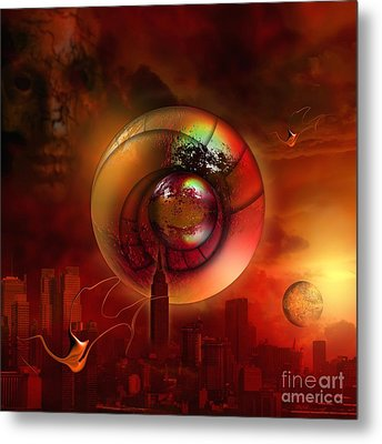 Two Redeemed Souls Hovering In The Sky Metal Print by Franziskus Pfleghart