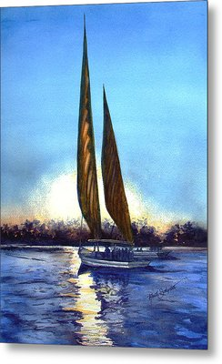 Two Sails At Sunset Metal Print by Ruth Bodycott