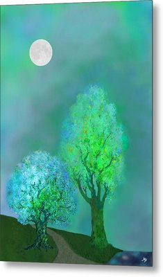 unbordered DREAM TREES AT TWILIGHT Metal Print by Mathilde Vhargon