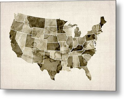 United States Watercolor Map Metal Print by Michael Tompsett