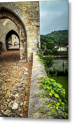 Valentre Bridge In Cahors France Metal Print by Elena Elisseeva