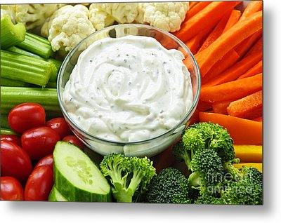 Vegetables And Dip Metal Print by Elena Elisseeva