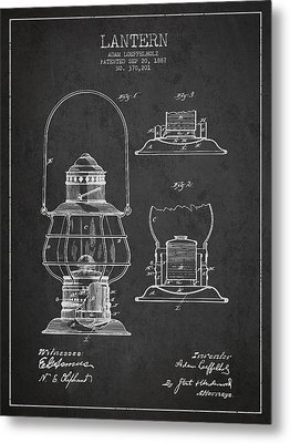 Vintage Lantern Patent Drawing From 1887 Metal Print by Aged Pixel