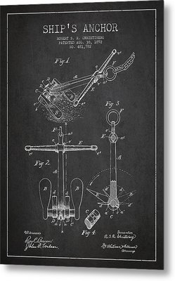 Vintage Ship Anchor Patent From 1892 Metal Print by Aged Pixel