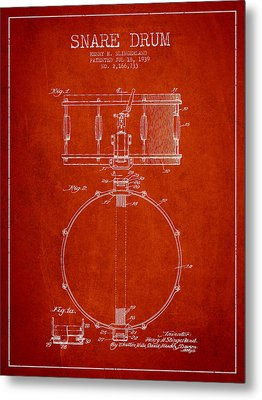 Snare Drum Patent Drawing From 1939 - Red Metal Print by Aged Pixel
