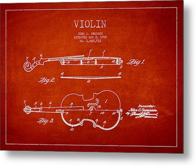 Vintage Violin Patent Drawing From 1928 Metal Print by Aged Pixel