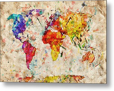 Vintage World Map Metal Print by Michal Bednarek