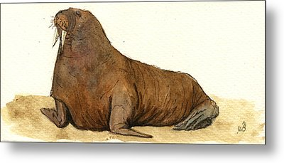 Walrus Metal Print by Juan  Bosco