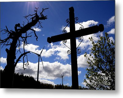Wind Turbine And Cross Metal Print by Bernard Jaubert
