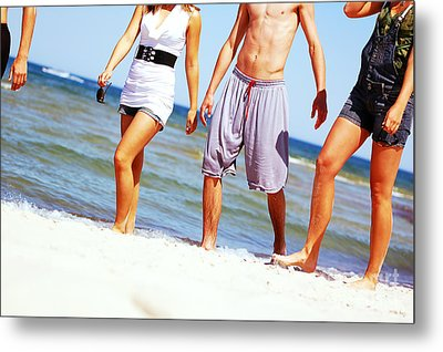 Young Friends On The Summer Beach Metal Print by Michal Bednarek