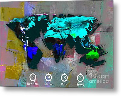 World Map Watercolor Metal Print by Marvin Blaine