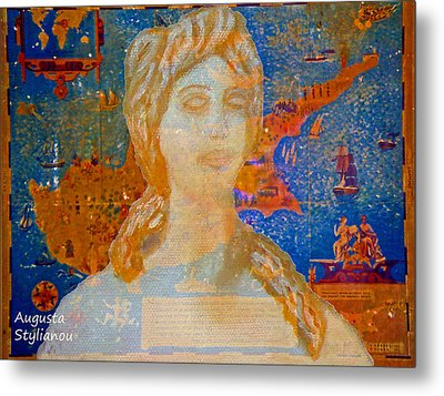 Ancient Cyprus Map And Aphrodite Metal Print by Augusta Stylianou