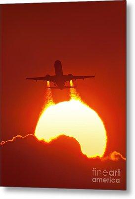 Boeing 737 Taking Off At Sunset Metal Print by David Nunuk
