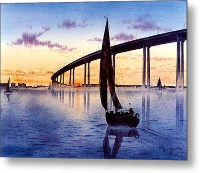 Bridge At Sunset Metal Print by John YATO