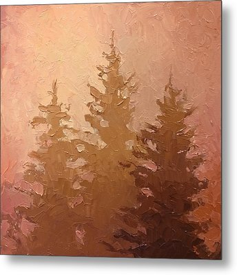 3 Cedars In The Fog No. 2 Metal Print by Karen Whitworth